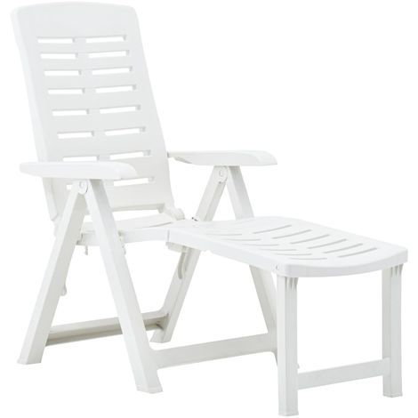 Folding Sun Lounger Plastic White