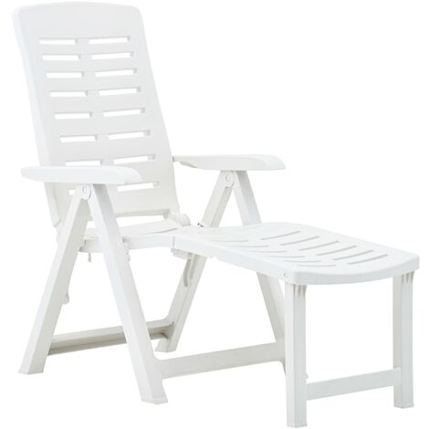 Folding Sun Lounger Plastic White - White