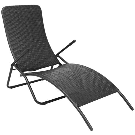 Folding Sun Lounger Poly Rattan Black