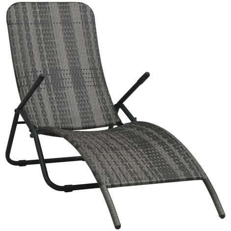 Folding Sun Lounger Poly Rattan Grey