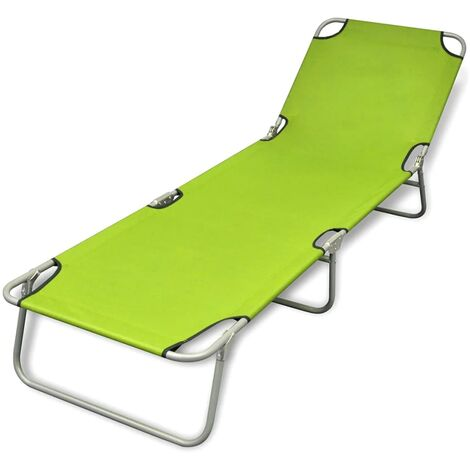 Folding Sun Lounger Powder-coated Steel Apple Green