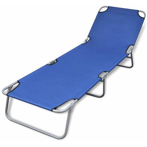 Folding Sun Lounger Powder-coated Steel Blue - Blue