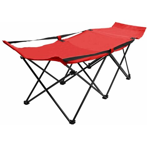 Folding Sun Lounger Red Steel - Red
