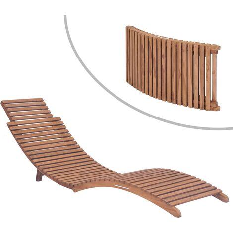Folding Sun Lounger Solid Teak Wood - Brown