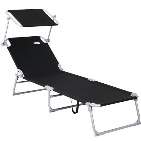"""main image of """"Folding Sun Lounger Steamer Chair Sun Shade Bed Outdoor Garden Loungers Beach"""""""