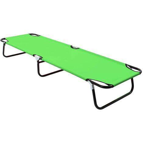 Folding Sun Lounger Steel Green