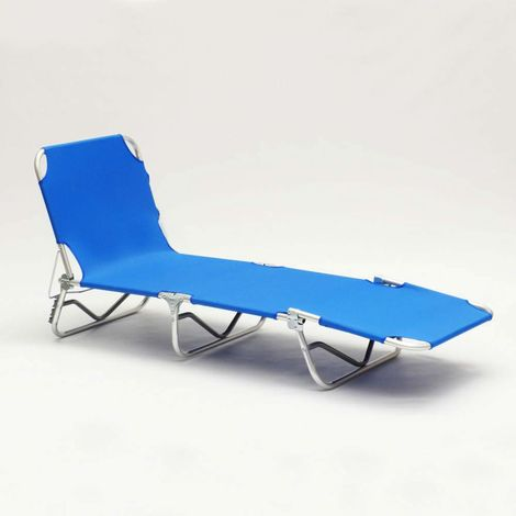 Folding Sun Lounger with Aluminium Frame Reclining Back VERONA | Blue