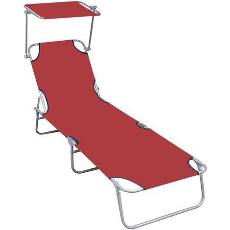 Folding Sun Lounger with Canopy Red Aluminium - Red