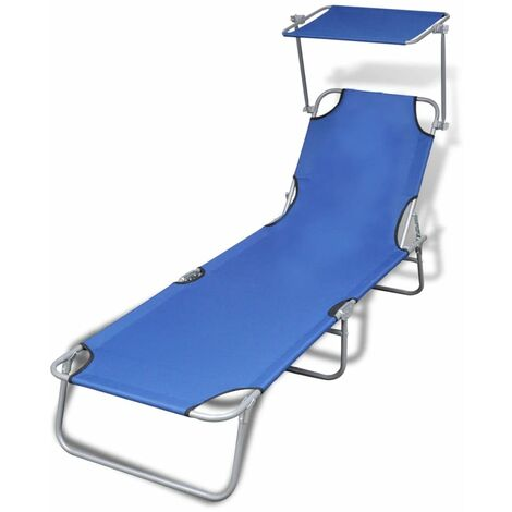 Folding Sun Lounger with Canopy Steel and Fabric Blue