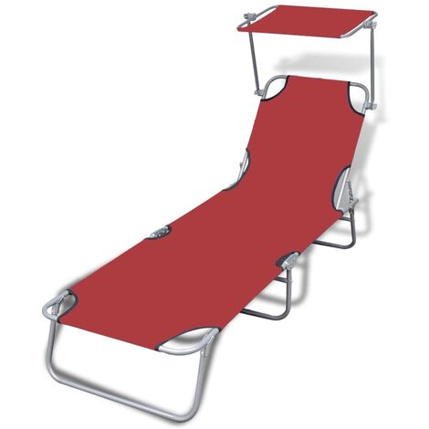 Folding Sun Lounger with Canopy Steel and Fabric Red - Red