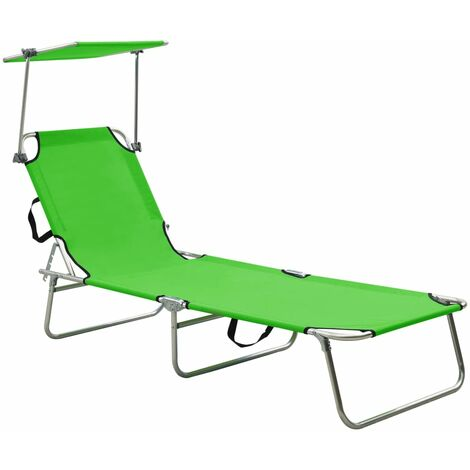 Folding Sun Lounger with Canopy Steel Apple Green