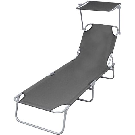 Folding Sun Lounger with Canopy Steel Grey - Grey