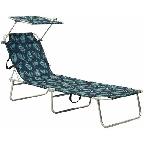 Folding Sun Lounger with Canopy Steel Leaves Print
