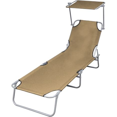 Folding Sun Lounger with Canopy Steel Taupe