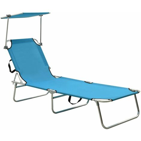 Folding Sun Lounger with Canopy Steel Turquoise and Blue