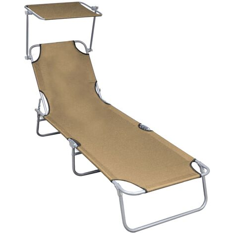 Folding Sun Lounger with Canopy Taupe Aluminium - Brown