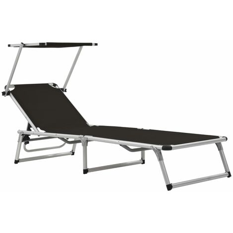 Folding Sun Lounger with Roof Aluminium and Textilene Black