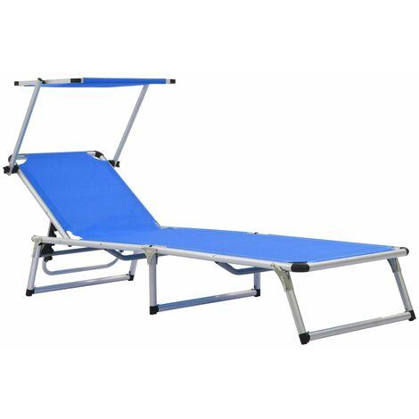 Folding Sun Lounger with Roof Aluminium and Textilene Blue