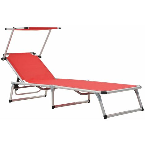 Folding Sun Lounger with Roof Aluminium and Textilene Red