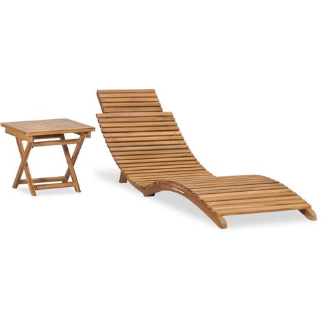 Folding Sun Lounger with Table Solid Teak Wood
