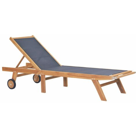 Folding Sun Lounger with Wheels Solid Teak and Textilene
