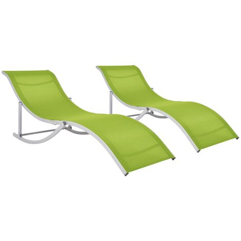Folding Sun Loungers 2 pcs Green Textilene