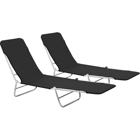 Folding Sun Loungers 2 pcs Steel and Fabric Black