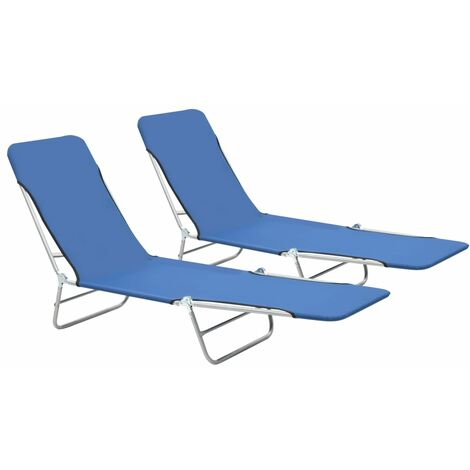 Folding Sun Loungers 2 pcs Steel and Fabric Blue