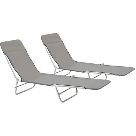 "main image of ""Folding Sun Loungers 2 pcs Steel and Fabric Grey"""