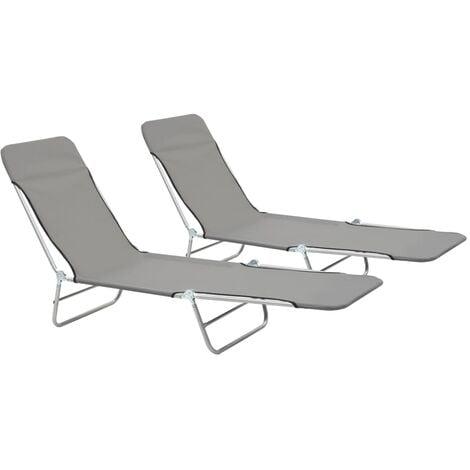 Folding Sun Loungers 2 pcs Steel and Fabric Grey - Grey