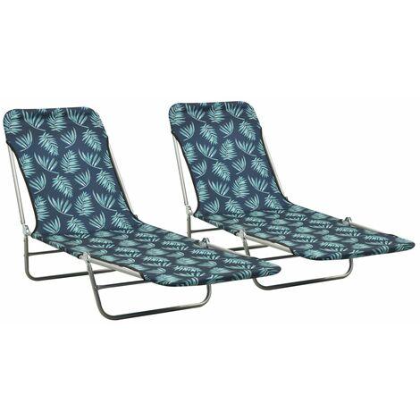 Folding Sun Loungers 2 pcs Steel and Fabric Leaf Pattern