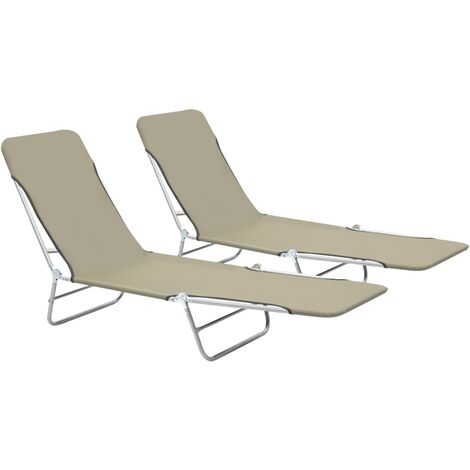 """main image of """"Folding Sun Loungers 2 pcs Steel and Fabric Taupe"""""""