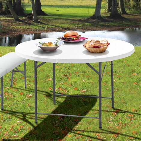 Folding Table and bench set - bench table, dining table and bench set, picnic table and chair - white