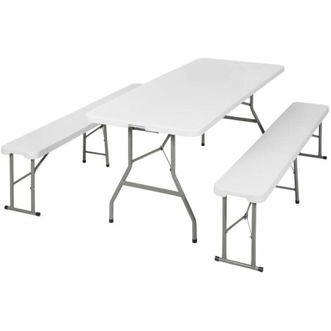 Folding table with benches - camping table, trestle table, folding table and chairs - white - bianco