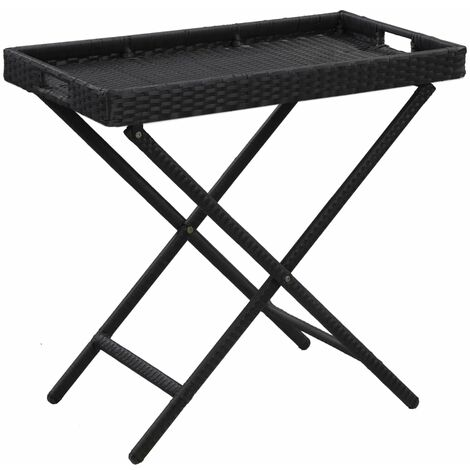 Folding Table Black 80x45x75 cm Poly Rattan - Black