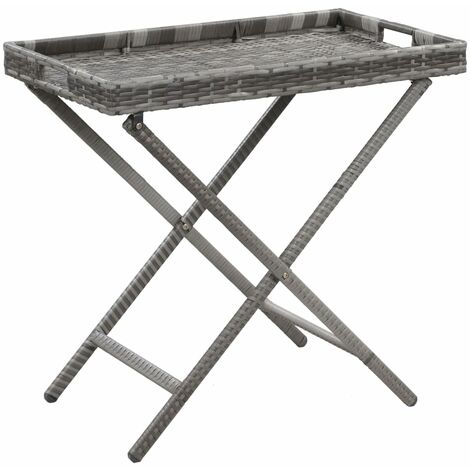 Folding Table Grey 80x45x75 cm Poly Rattan