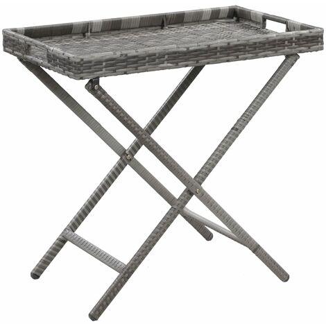 Folding Table Grey 80x45x75 cm Poly Rattan
