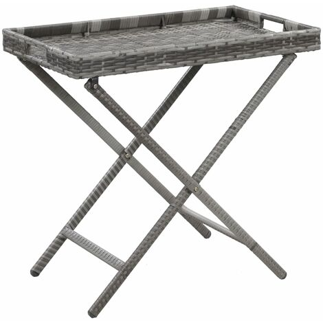 Folding Table Grey 80x45x75 cm Poly Rattan - Grey