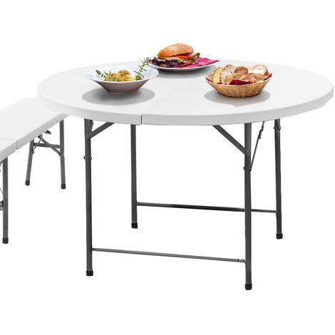 Folding table with bench - camping table, dining table and bench set, picnic table and chair - white
