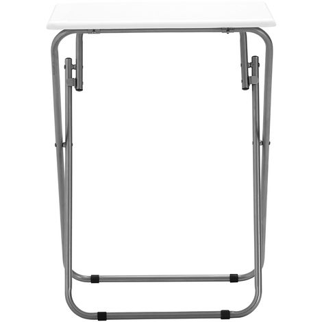 Folding Table,White Gloss Table Top,Silver Finish Frame