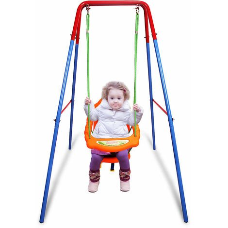 Folding Toddler Baby Outdoor Swing Safety Chair Set Kids Play Fun Garden Yard UK