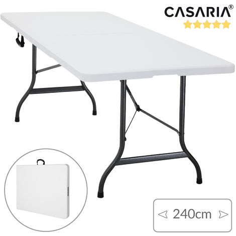 Folding Trestle Table Portable Foldable Trestle 2.4 Meters 8 Ft Carry Handle Outdoor and Indoor Heavy Duty
