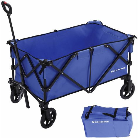 Folding wagon, Aluminium, Capacity 150kg, Portable Garden Cart with 4 Wheels and Steel Brakes, TÜV Rheinland Test, for Outdoors, Blue/Grey/Red