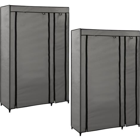 Folding Wardrobes 2 pcs Grey 110x45x175 cm Fabric