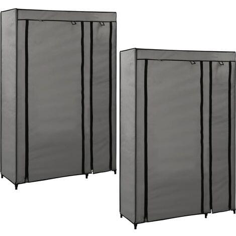 Folding Wardrobes 2 pcs Grey 110x45x175 cm Fabric - Grey