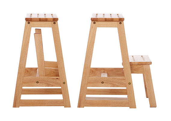 Image of Folding Wooden Step-Stool - A PLACE FOR EVERYTHING