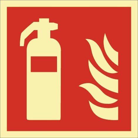Folie Feuerlöscher 200x200mm rot/weiß ASR A1.3 DIN EN ISO 7010 nachleuchtend