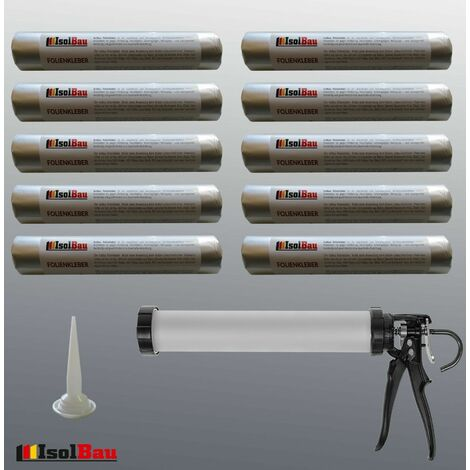 Folienkleber 10 x 600ml EPDM Teichfolienkleber + Schlauchbeutelpistole