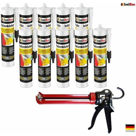 Folienkleber 10 x Dichtkleber + Premium Auspresspistole Dampfbremse Dampfsperre