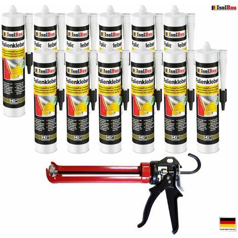 Folienkleber 12 x Dichtkleber + Premium Auspresspistole Dampfbremse Dampfsperre